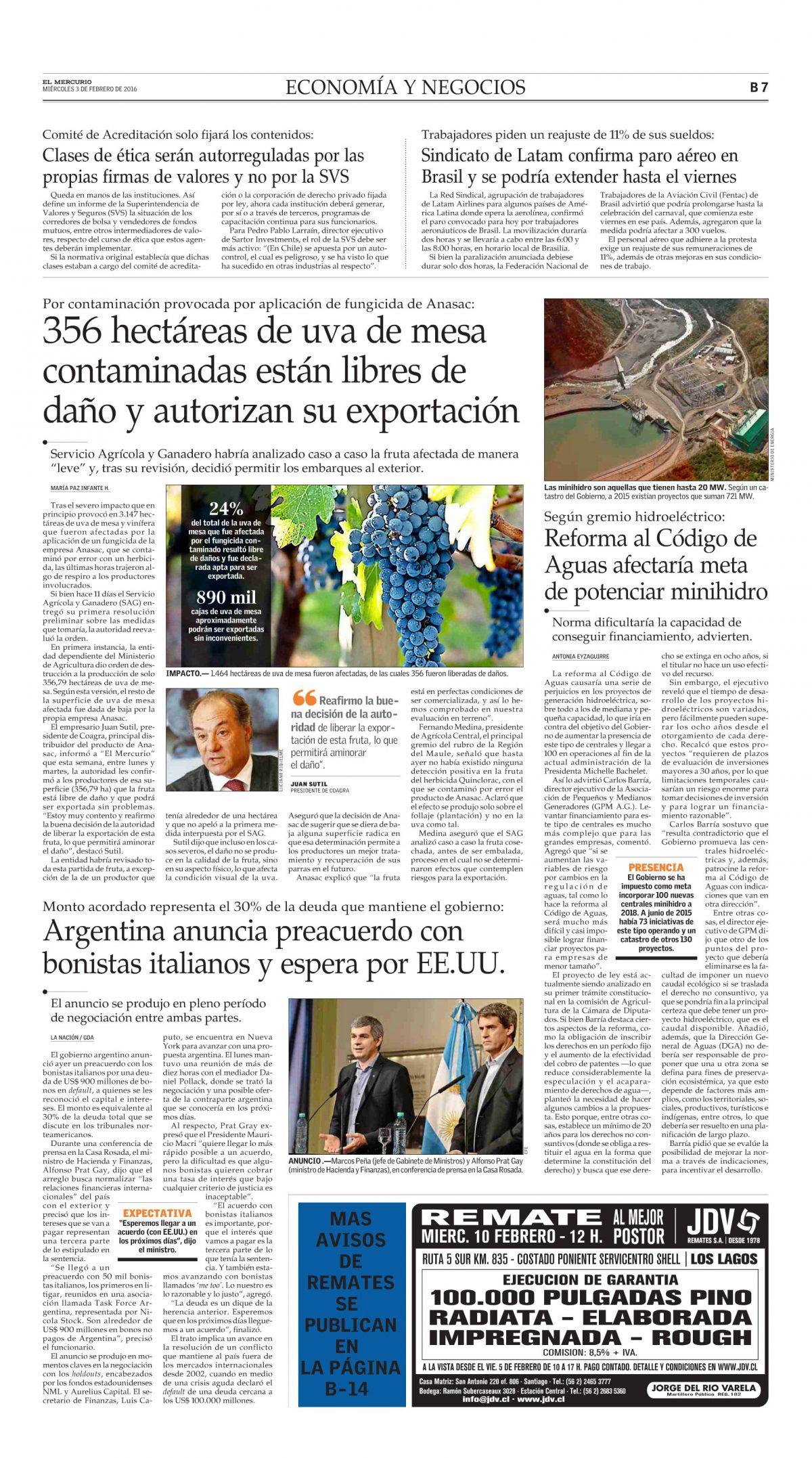356 hectáreas de uva de mesa contaminadas están libres de daño y autorizan su exportación