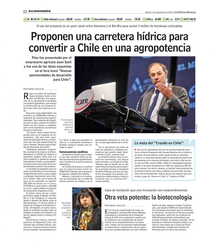 Proponen una carretera hídrica para convertir a Chile en una agropotencia