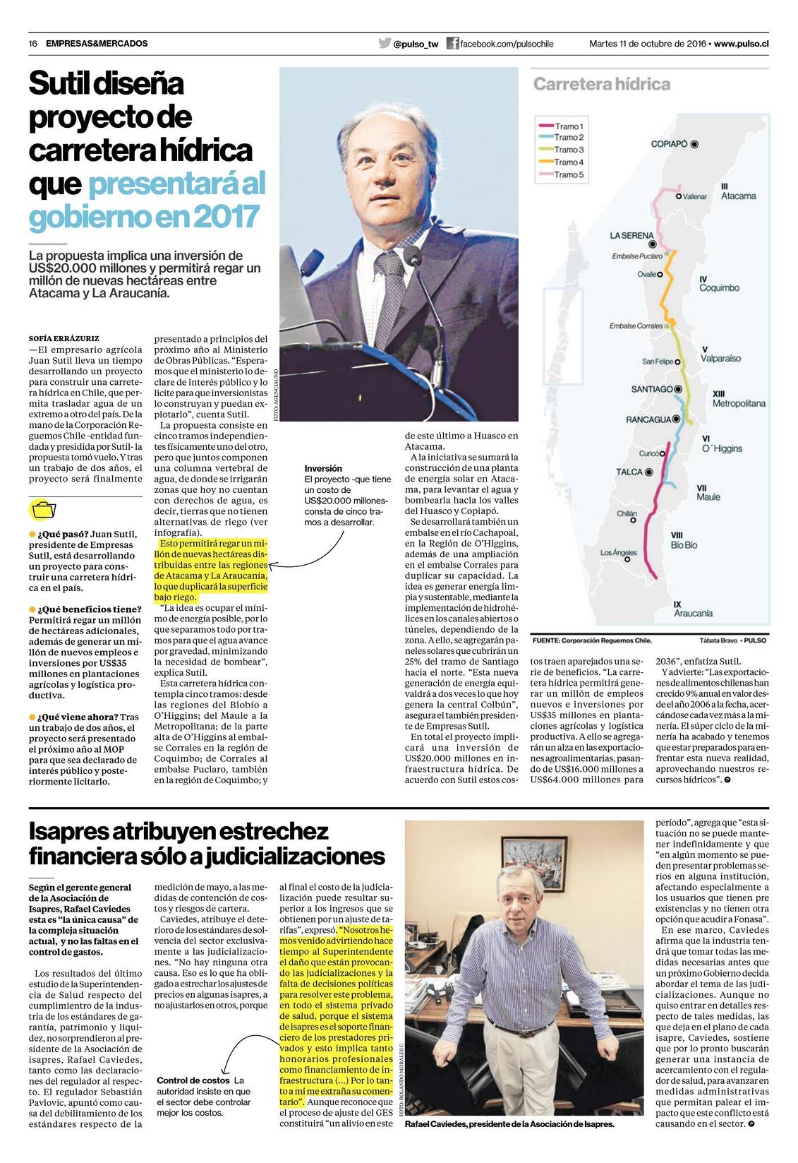 Sutil diseña proyecto de carretera hídrica que presentará al gobierno en 2017