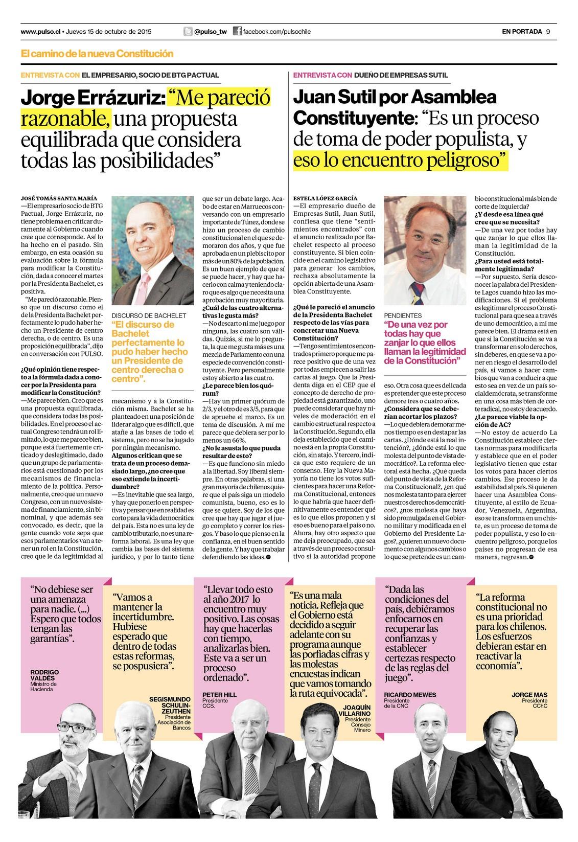"""Juan Sutil por Asamblea Constituyente: """"Es un proceso de toma de poder populista, y eso lo encuentro peligroso"""""""