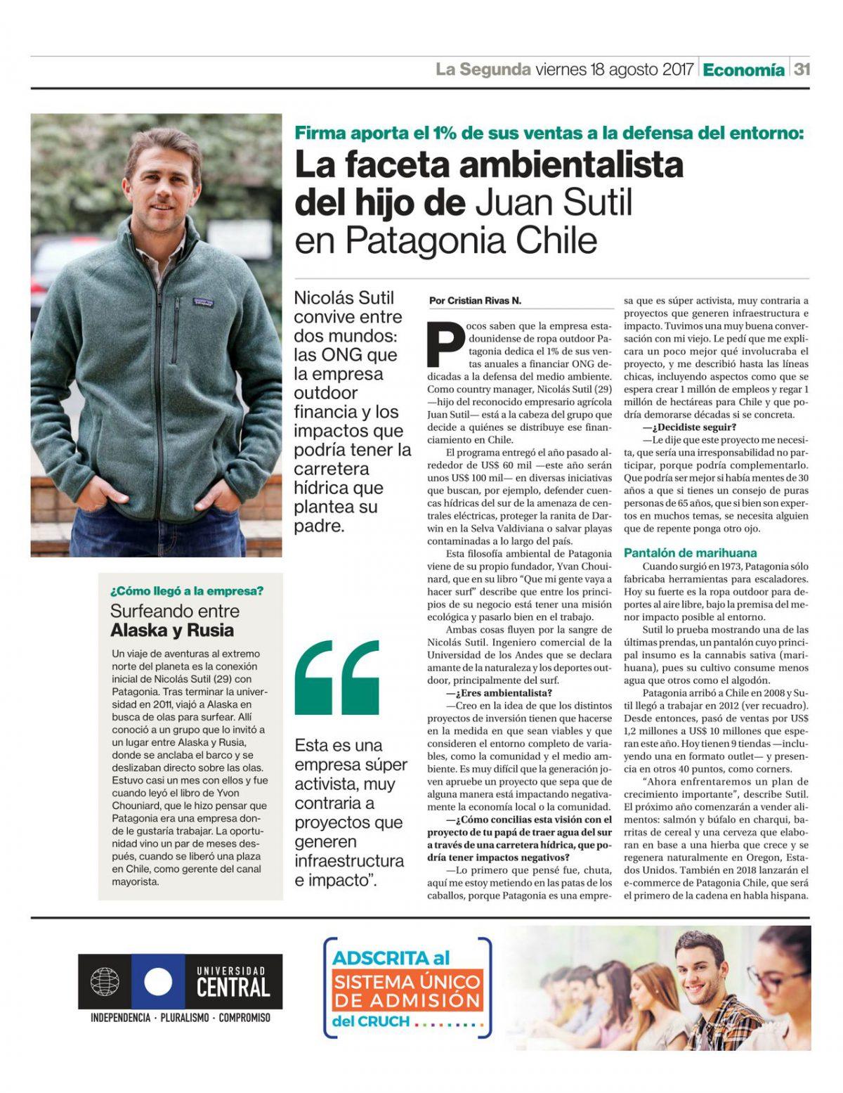 La faceta ambientalista del hijo de Juan Sutil en Patagonia Chile