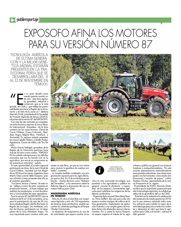EXPOSOFO AFINA LOS MOTORES PARA SU VERSIÓN NÚMERO 87