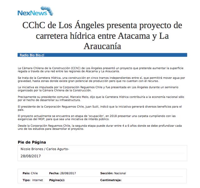 CChC de Los Ángeles presenta proyecto de carretera hídrica entre Atacama y La Araucanía