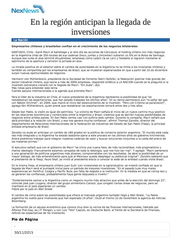 En la región anticipan la llegada de inversiones
