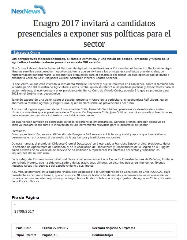 Enagro 2017 invitará a candidatos presenciales a exponer sus políticas para el sector