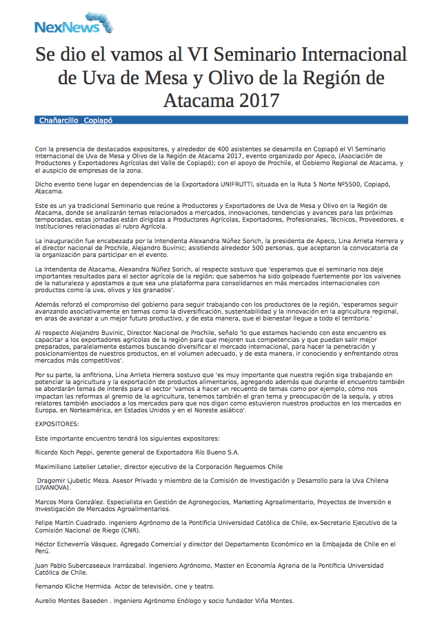 Se dio el vamos al VI Seminario Internacional de Uva de Mesa y Olivo de la Región de Atacama 2017