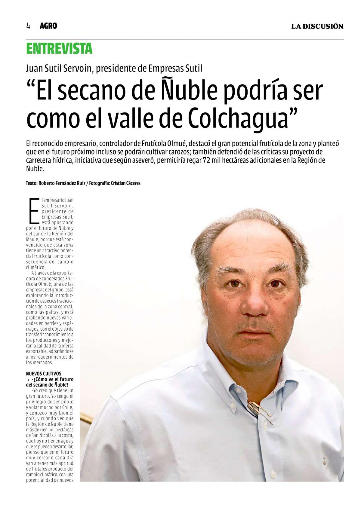 El Secano de Ñuble podría ser com el valle de Colchuagua