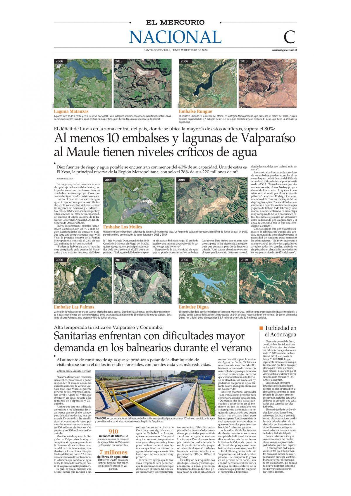 Al menos 10 embalses y lagunas de Valparaíso al Maule tienen niveles críticos de agua