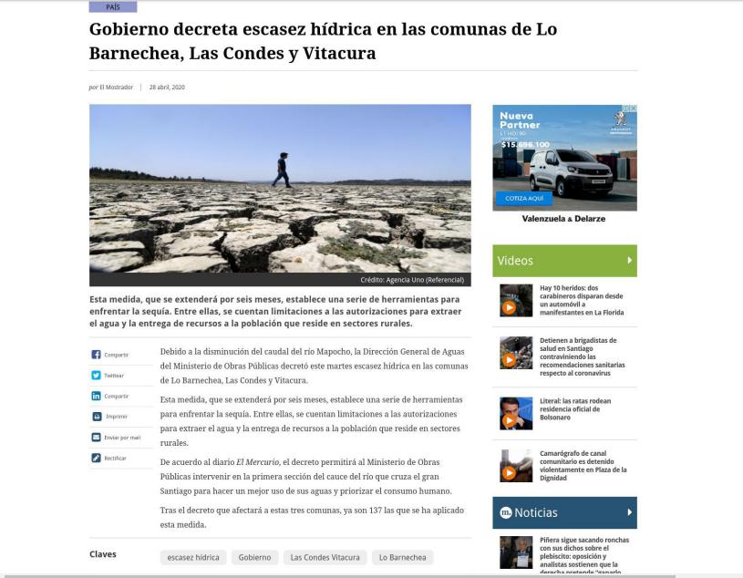 Gobierno decreta escasez hidríca en las comunas de Barnechea, Los condes y vitacura