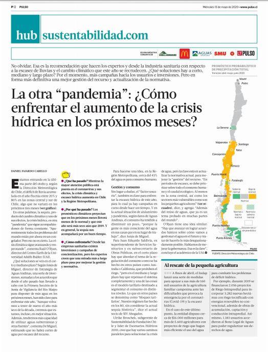 """La otra """"pandemia"""" ¿como enfrentar el aumento de la crisis hídridrica en los proximos meses?"""